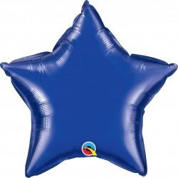 Balon folie albastru inchis metalizat stea - 50 cm, Qualatex 99603