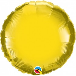 Balon folie citrine yellow metalizat rotund - 45 cm, Qualatex 22637
