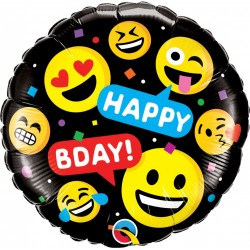 Balon Folie 45 cm Happy Birthday Emoji, Qualatex 78718