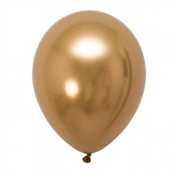 Baloane latex 33 cm Gold - Shiny (Chrome), Gemar 120.88, set 50 buc