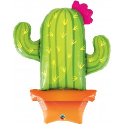"39"" Potted Cactus Shaped Foil Balloon, Qualatex 78652"