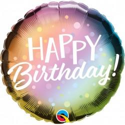 Balon Folie 45 cm Happy Birthday Metallic, Qualatex 88027