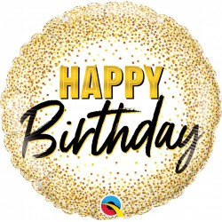 Balon Folie 45 cm Happy Birthday Gold Dots, Qualatex 88024