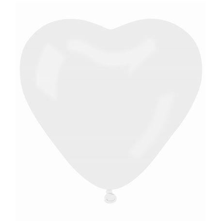 Baloane latex in forma de inima, Diametru 16 cm, Alb 01, Gemar CR6.01, set 100 buc