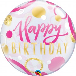 "22"" Single Bubble Birthday Pink & Gold Dots, Qualatex 87745"