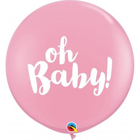 Baloane latex Jumbo 3ft inscriptionate Oh Baby! - Pink, Qualatex 85829, set 2 buc