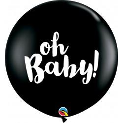 Baloane latex Jumbo 3ft inscriptionate Oh Baby! - Onyx Black, Qualatex 85831, set 2 buc