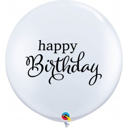 Baloane latex Jumbo 3ft inscriptionate Happy Birthday, Qualatex 88200, set 2 buc