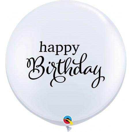 3' Happy Birthday - White Round Latex Balloons, Qualatex 88200, pack of 2 pcs