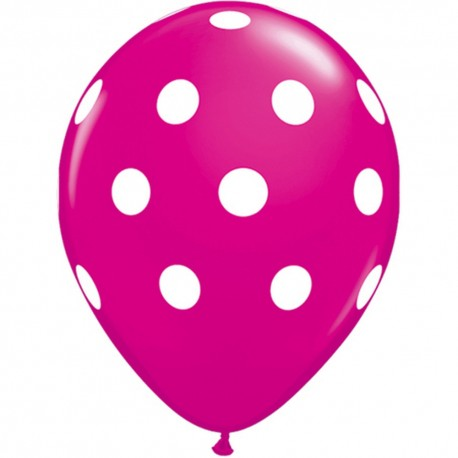 "Baloane latex 11""/28 cm wild berry Big Polka Dots, Qualatex 37225"