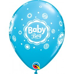 Baloane latex 11''/28 cm - Baby Boy Dots, Qualatex 17803, Set 6 buc