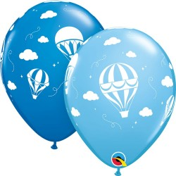 Baloane latex 11''/28 cm Blue Hot Air Balloons, Qualatex 86560, set 25 buc