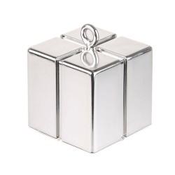 Greutate pentru baloane forma cadou - argintiu, 110 g, Qualatex 14386
