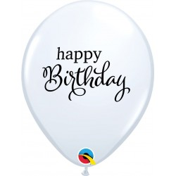 "Baloane latex 11""/28 cm Happy Birthday White, Qualatex 89453, set 25 bucati"