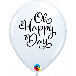 Baloane latex 11''/28 cm inscriptionate Oh Happy Day, Qualatex 90994, set 25 buc
