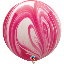Red & White SuperAgate Latex Balloon, 30 inch (75 cm), Qualatex 55379, Pack of 2 pieces