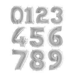 "Balon Folie Mare Cifra 0-9 Argintiu - 64""/163 cm, Aer + Heliu, Radar, 1 buc"