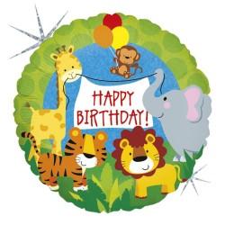 """9"""" Jungle Animals Birthday Air Fill Microfoil Balloon, Radar 32569H"""