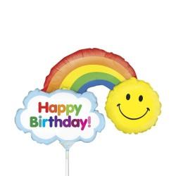 Balon mini figurina, Happy Birthday - Curcubeu - 36 cm, Radar 19674
