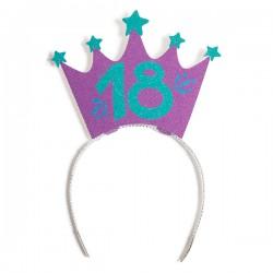 Party glitter crown 18 years, 10 x 15 cm, Radar 41381