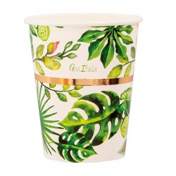 Tropical print party paper cups - 250 ml, Radar 63920, 8 pcs