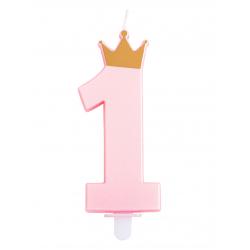 Lumanare aniversara de tort roz cifra 1 cu coronita, Radar 51861, 1 buc
