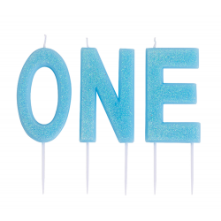 ONE Blue Cake Candles, 9.5 cm, Radar 51827, 1 Pack