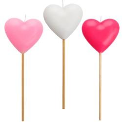 Heart molded candles on pick, 20 cm, Radar 51824, 1 pcs