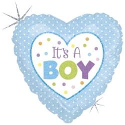 "18"" It's A Boy Heart Shaped Foil Balloon, Radar 86898H"