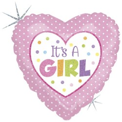"18"" It's A Girl Heart Shaped Foil Balloon, Radar 86899H"