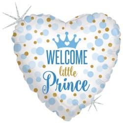"18"" Welcome Little Prince Heart Shaped Foil Balloon, Radar 36712GH"