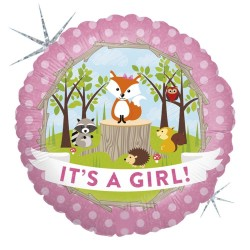 "18"" It's A Girl - Woodland Round Foil Balloon, Radar 36180H"
