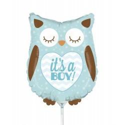 "It's a boy, Owl Mini Shape Foil Balloon - 14""/36 cm, Radar 19158"