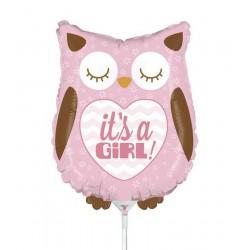 "It's a girl, Owl Mini Shape Foil Balloon - 14""/36 cm, Radar 19156"