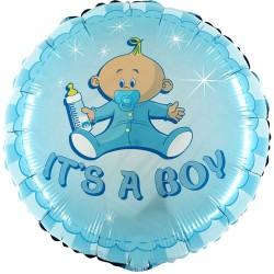"18"" It's A Boy Round Foil Balloon, Radar 78050"