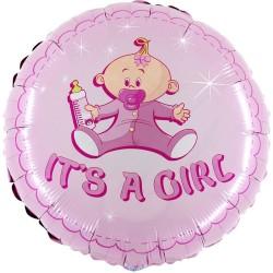 "18"" It's A Girl Round Foil Balloon, Radar 78051"