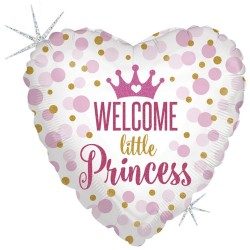 "18"" Welcome Little Princess Heart Shaped Foil Balloon, Radar 36713GH"