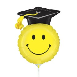 "Grad Smiley Mini Shape Foil Balloon - 14""/36 cm, Radar 19145"