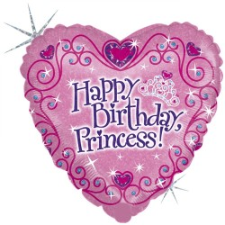 "18"" Happy Birthday Princess Heart Shaped Holographic Foil Balloon, Radar 86589H"