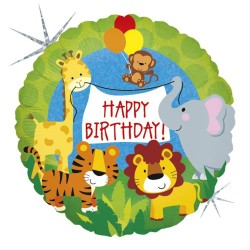 "18"" Happy Birthday Jungle Animals Round Holographic Foil Balloon, Radar 36569H"