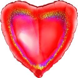 Balon folie glitter inima rosie - 45 cm, Radar 18068GHR