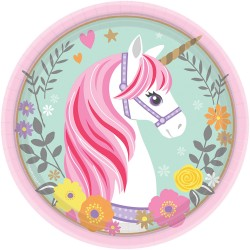 8 Plates Magical Unicorn Paper Round - 18 cm, Radar 541929, pack of 8 pieces