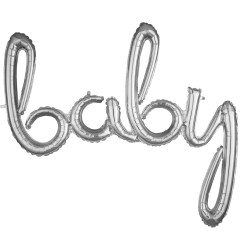 Pachet litere Baby script - argintiu, 41 cm, 36688