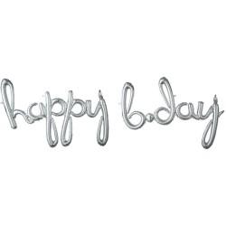 Pachet litere Happy B-Day script - argintiu, 41 cm, 37936