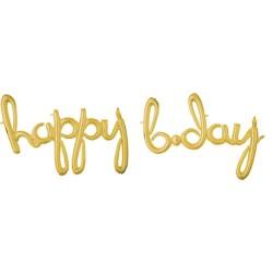 Pachet litere Happy B-Day script - auriu, 41 cm, 37937
