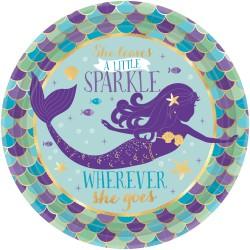 Farfurii carton pentru petrecere Mermaid Wishes - 18 cm, Radar 541975, set 8 bucati