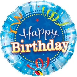 "9"" Happy Birthday Bright Blue Air Fill Microfoil Balloon, Qualatex 32955"