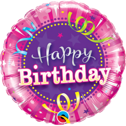 "9"" Happy Birthday Hot Pink Air Fill Microfoil Balloon, Qualatex 32953"