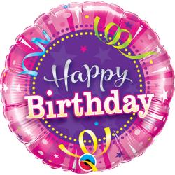 Balon Mini Folie Happy Birthday Hot Pink, 23 cm, Qualatex 32953