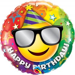 Balon Mini Folie Happy Birthday Smiley, 23 cm, Qualatex 58422